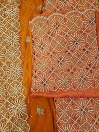 Orange Indian Beaded Fabric, Indian George Wrapper High Quality Fabric Hand Beaded Fabric