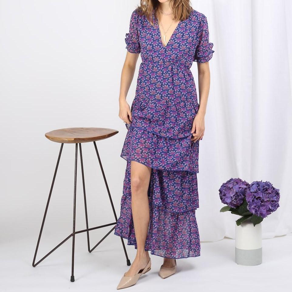 Long floral dress Brown