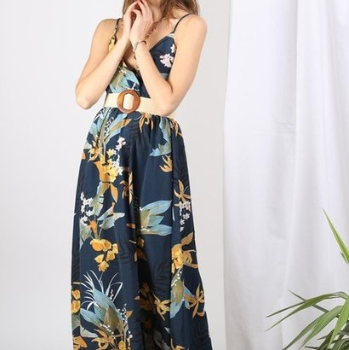 Blue Long Floral Dress  For Ladies