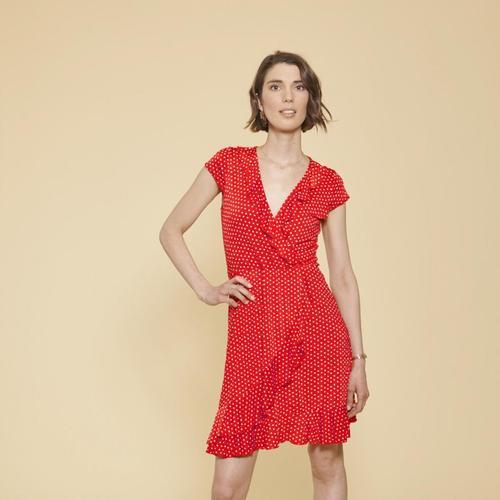 Polka dot print wrap dress