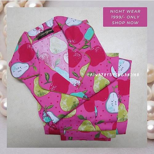Ladies Fruit Printed Night Suit