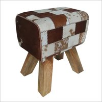 Tan White Hairon Stool