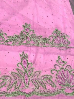 High quality silk heavy beaded george wrappers fabric hand beaded with french net lace blouse