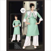 Ladies Cotton Kurti With Palazzo And Jacket
