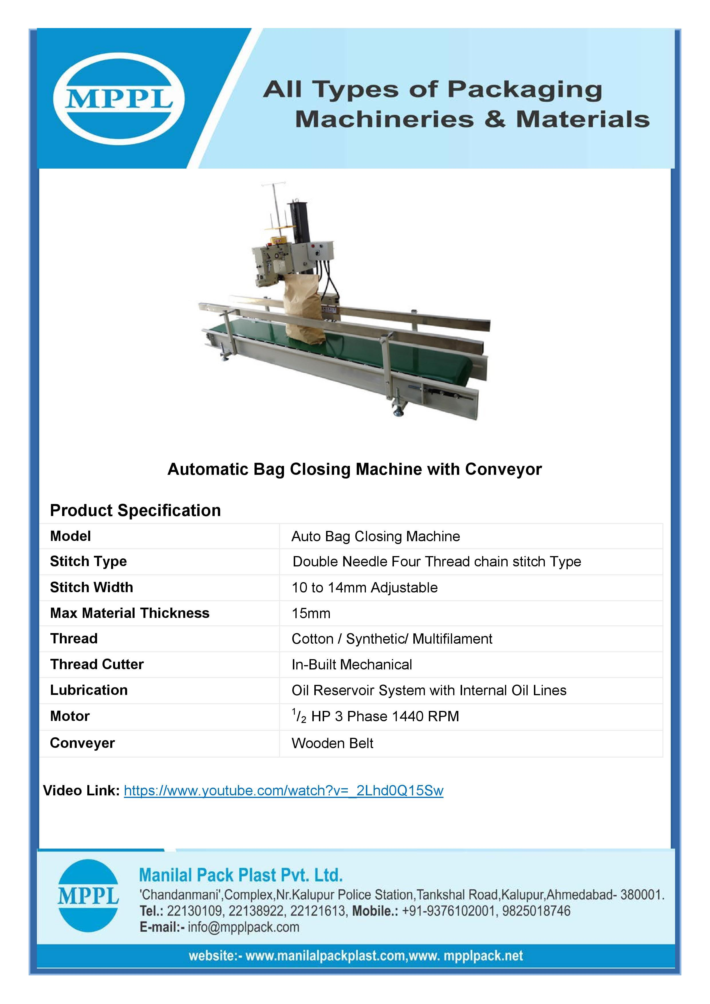 Automatic Bag Closing Machine with Conveyor