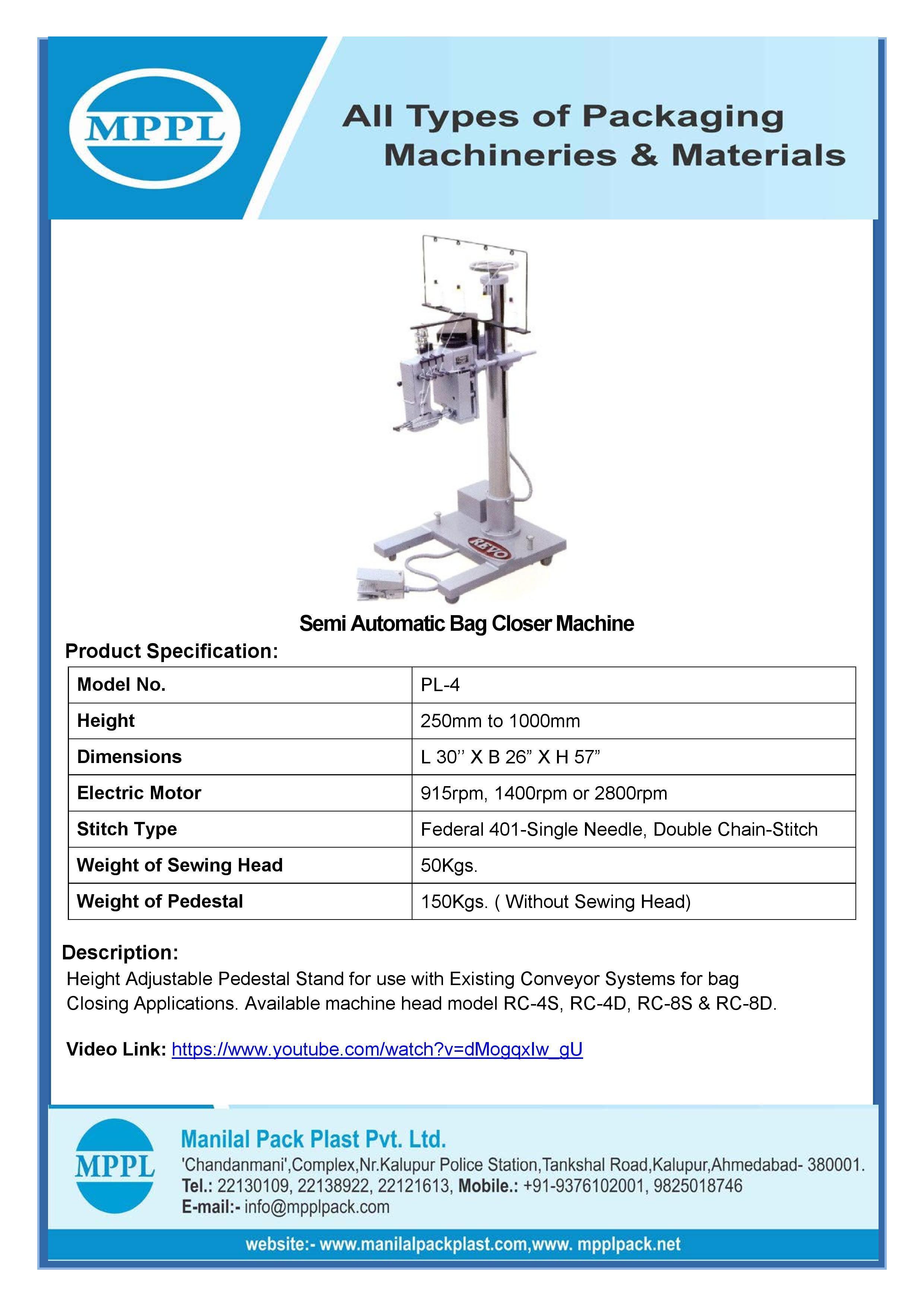 Semi Automatic Bag Closer Machine