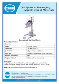 Semi Automatic Bag Closer Machine