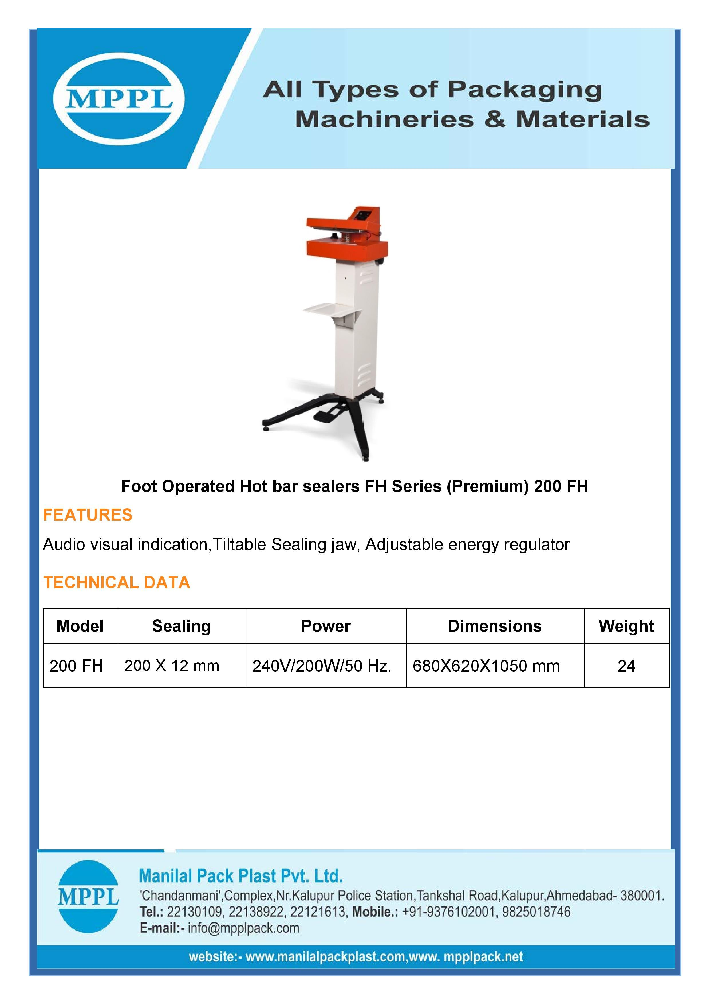 Foot Operated Hot bar sealer FH Delta series (Economy)
