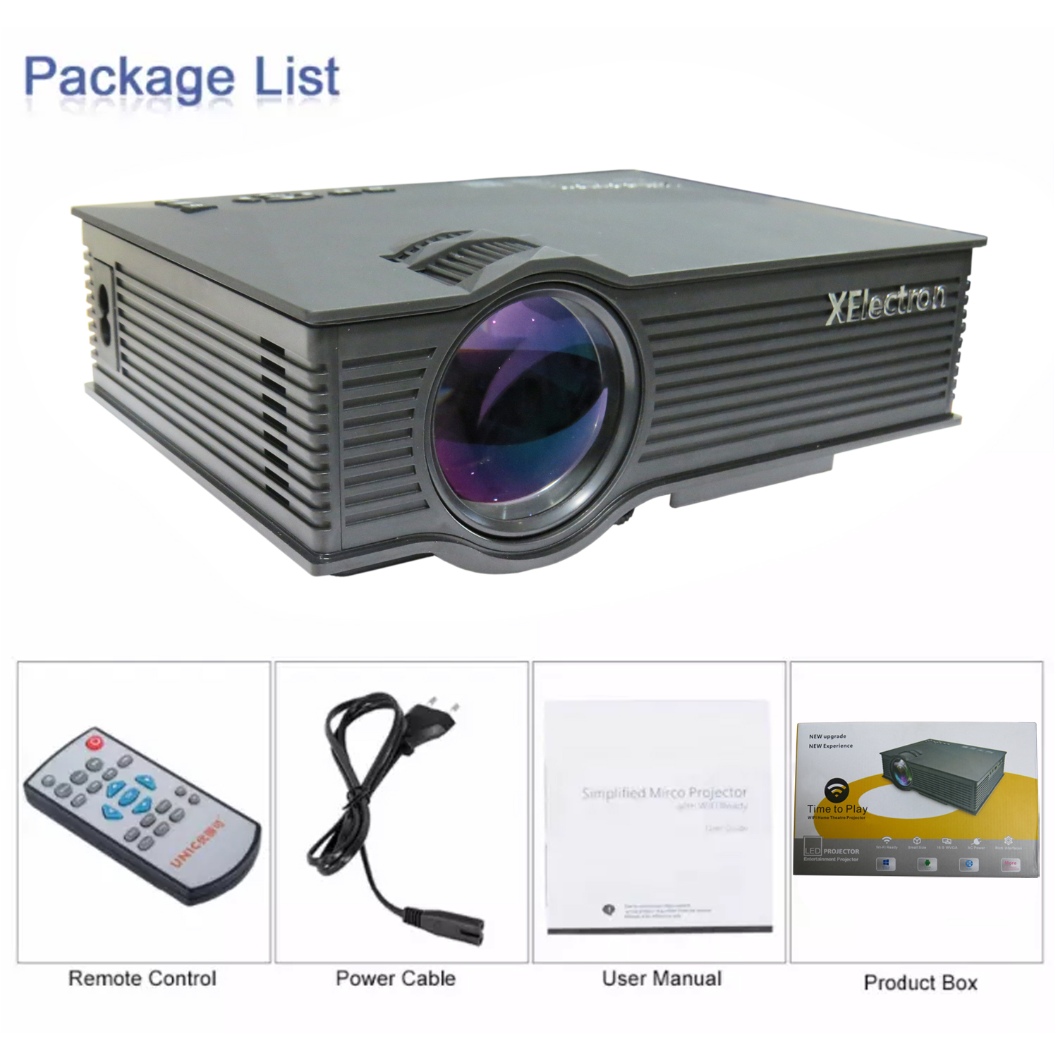 G16 MIRACAST LED HD Projector - HD 1920 X 1080 HDMI USB - VGA 120 inch Display (Black)