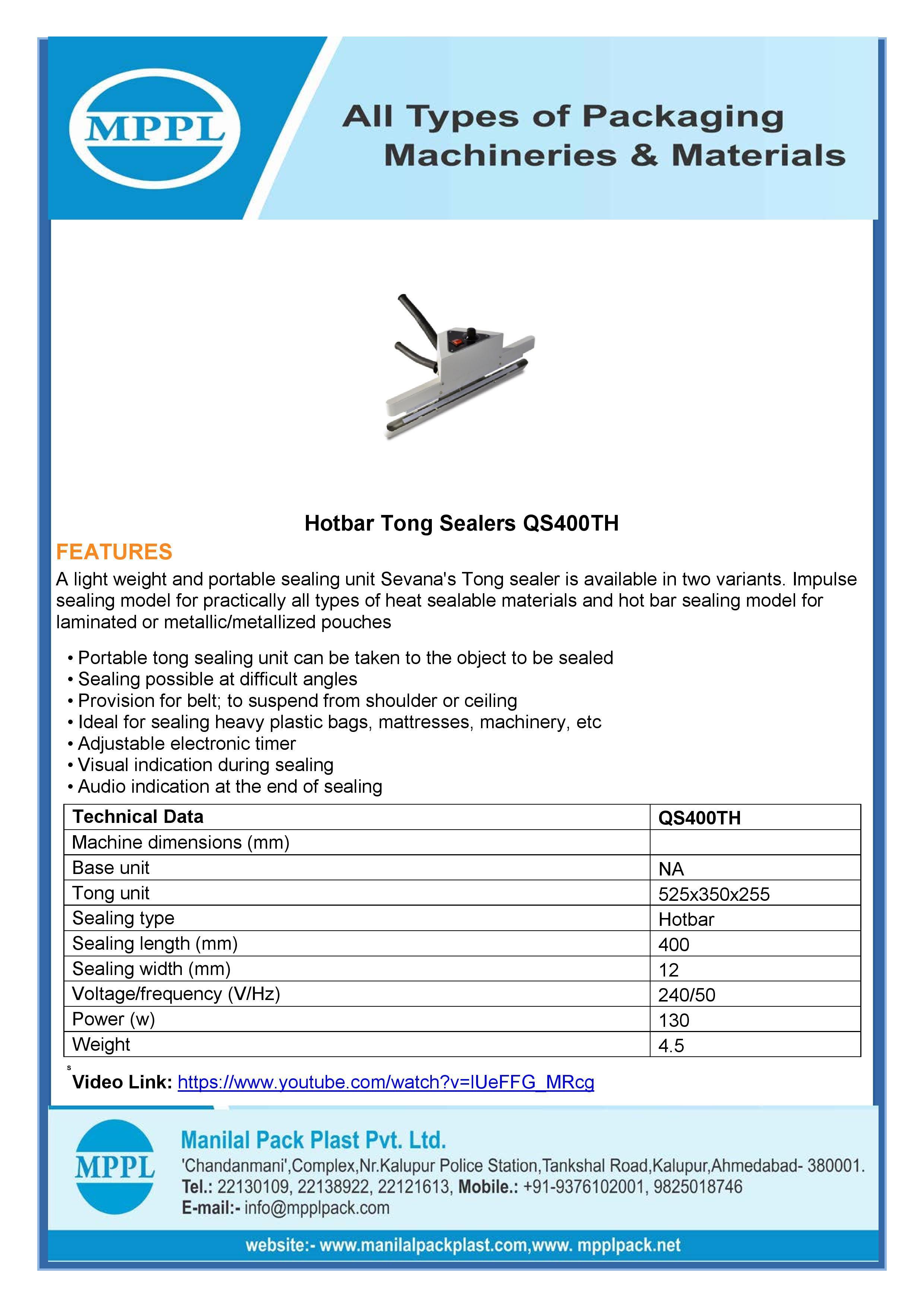 Hot Bar Tong Sealer
