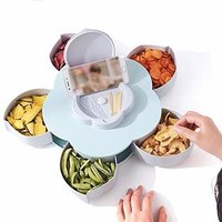 5 Compartments Flower Candy Box Serving Rotating Tray Dry Fruit, Candy, Chocolate, Snacks
