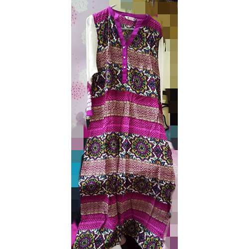 Pink Floral Print Soft Cotton Kurti