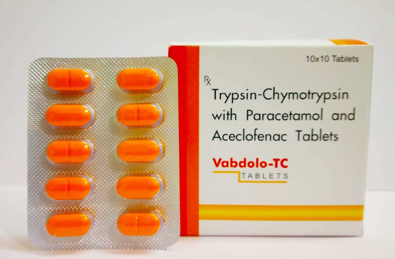 Aceclofenac (100mg) + Paracetamol/Acetaminophen (325mg) + Trypsin Chymotrypsin (50000AU)