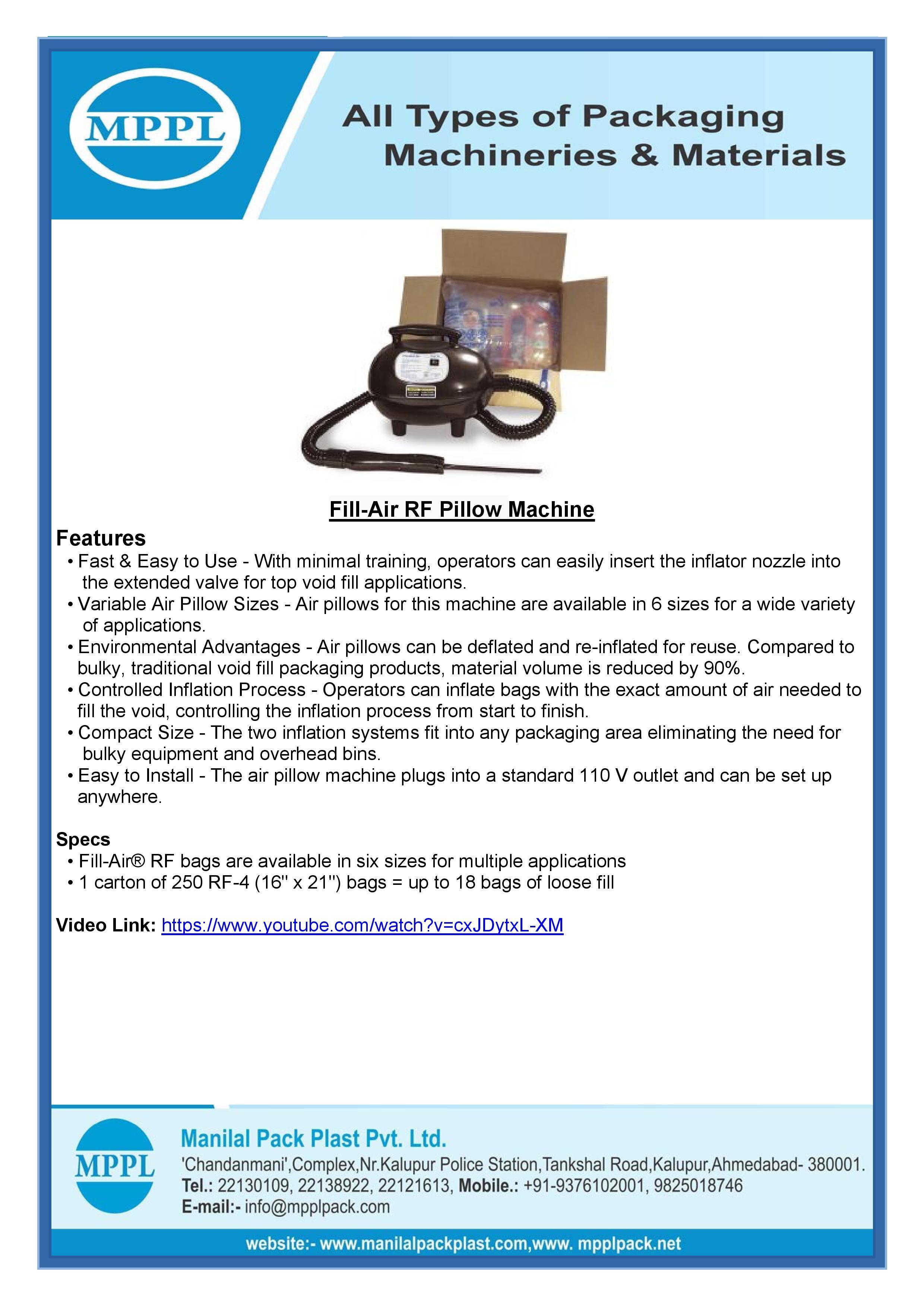 Fill-Air RF Pillow Machine