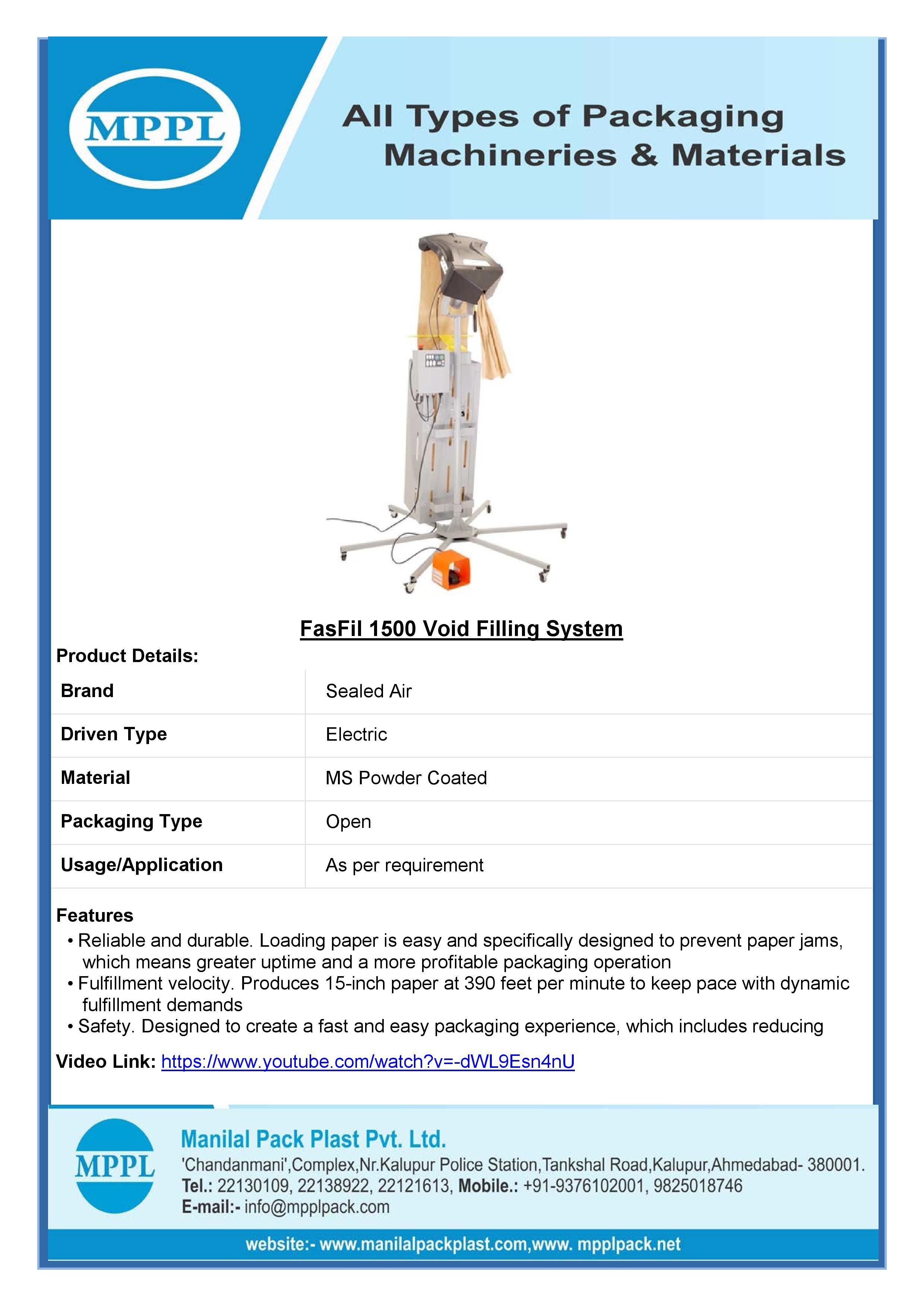 FasFil 1500 Void Filling System