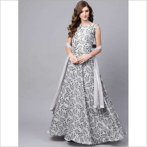 Ladies Leaf Printed Gown
