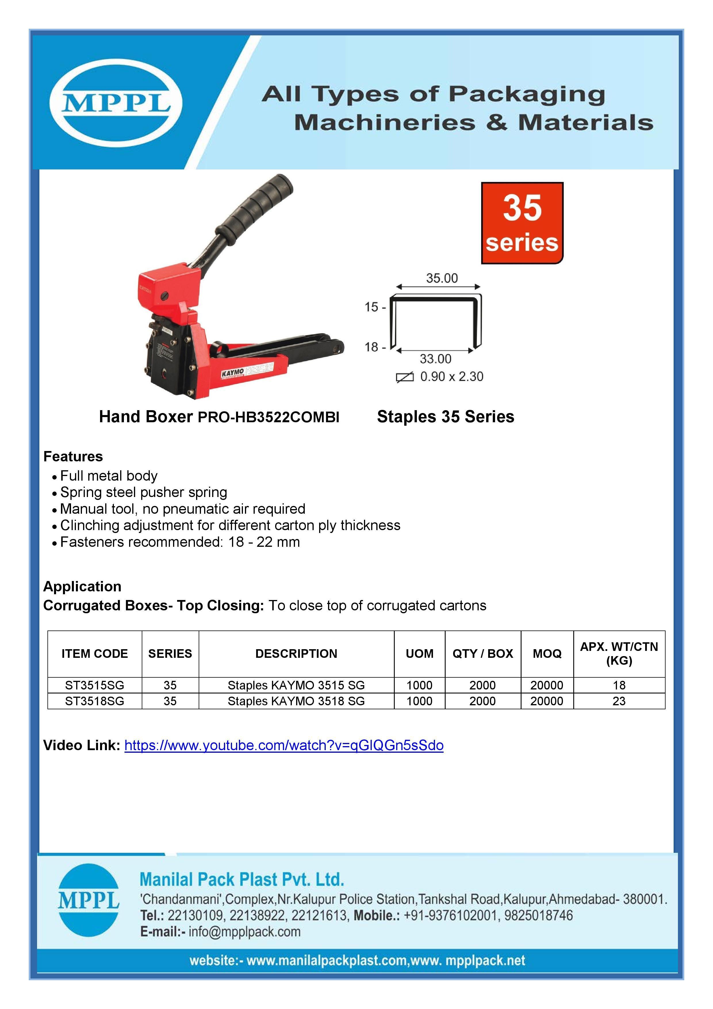 Hand Boxer PRO-HB3522COMBI