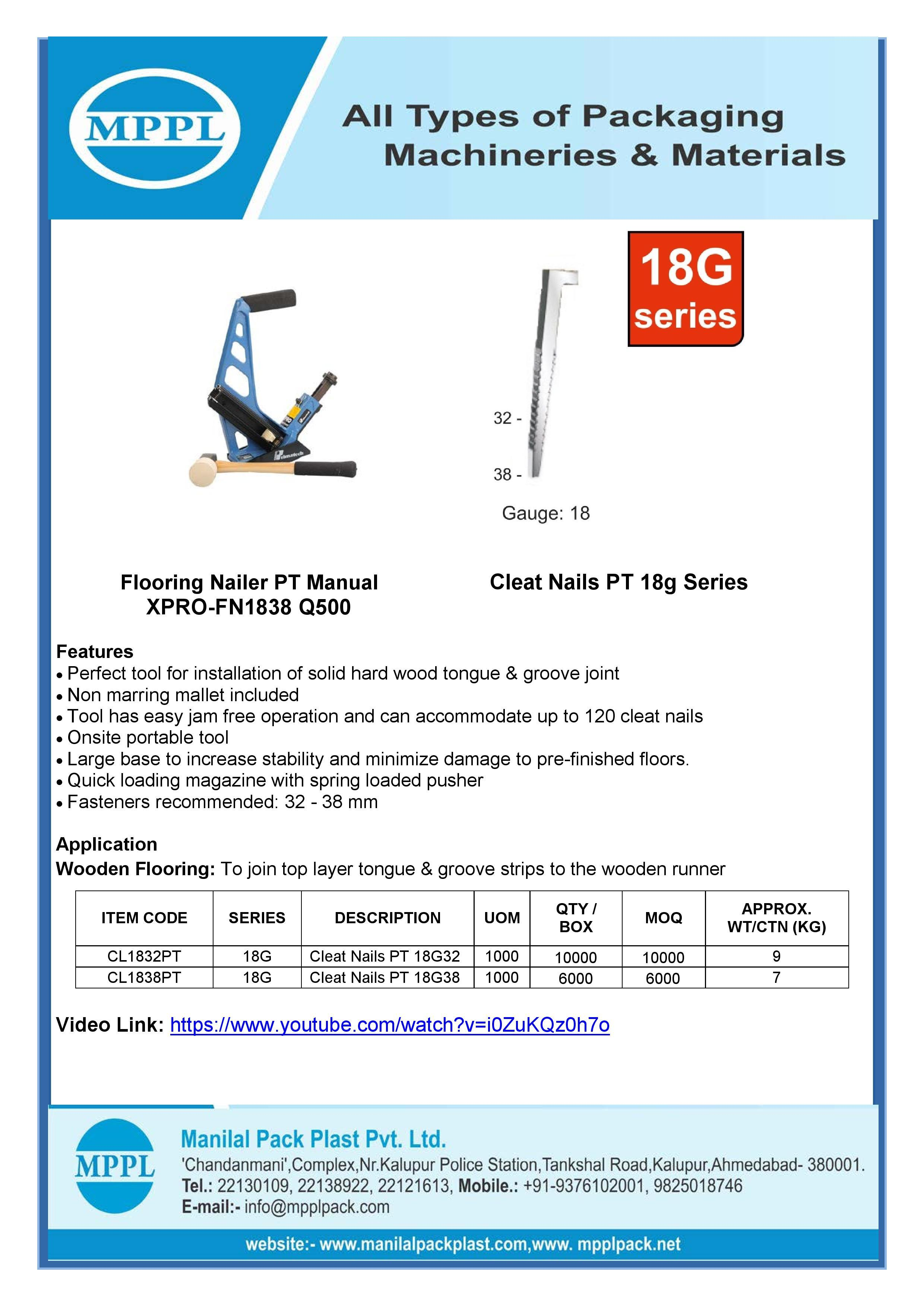 Flooring Nailer PT Manual XPRO-FN1838 Q500