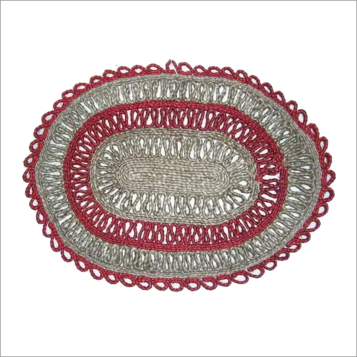 Red Oval Jute Coaster
