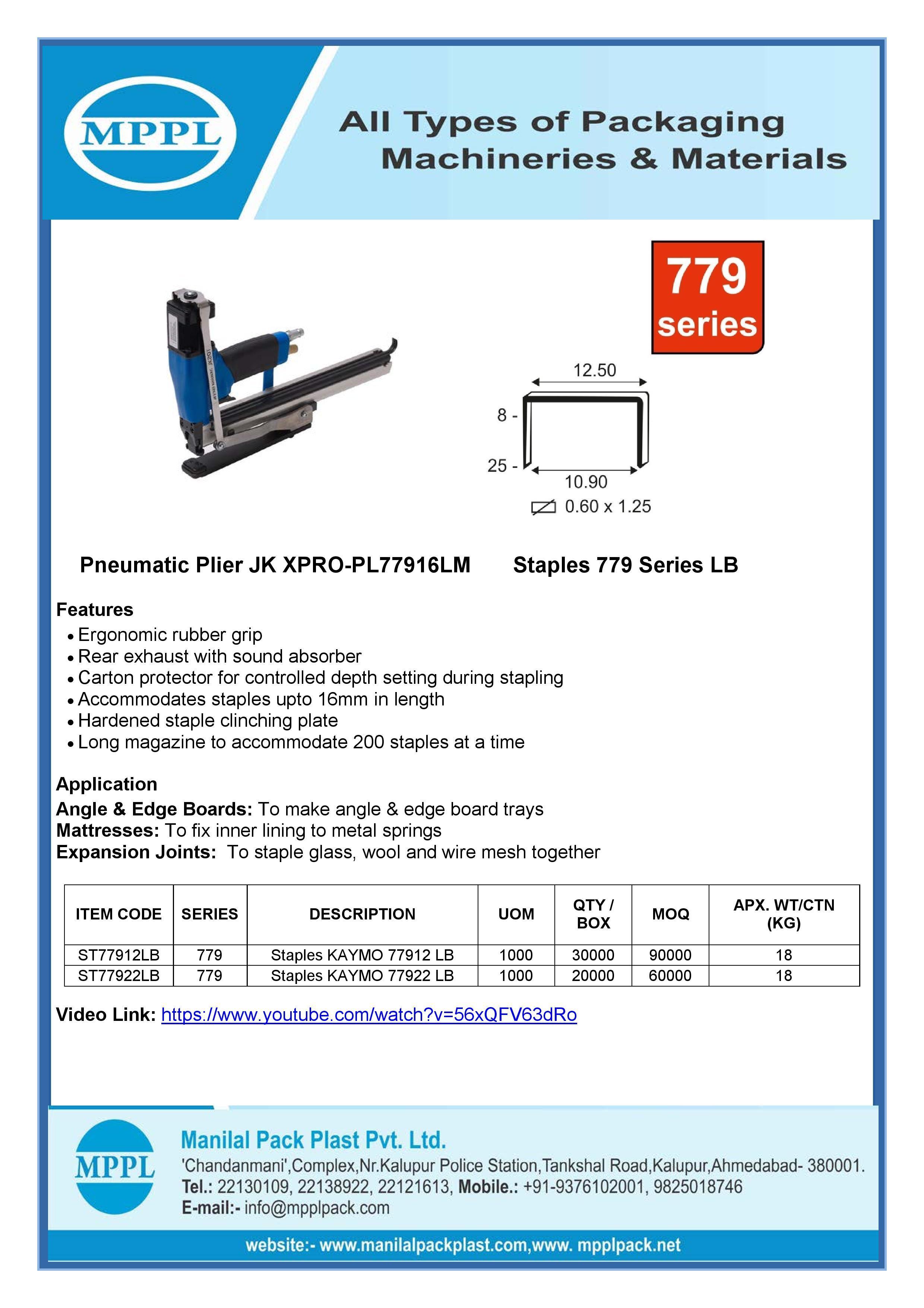 Pneumatic Plier JK XPRO-PL77916LM