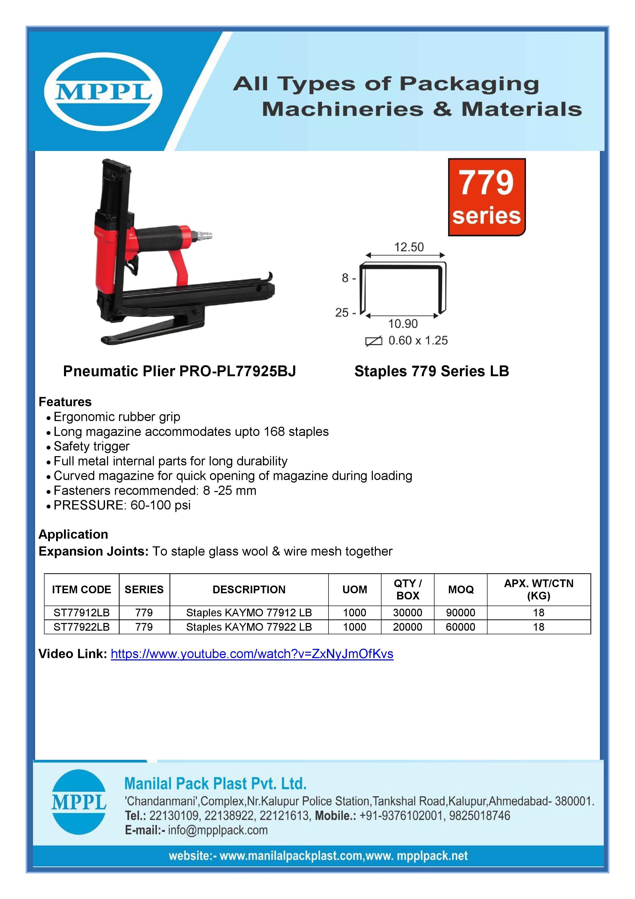 Pneumatic Plier PRO-PL77925BJ