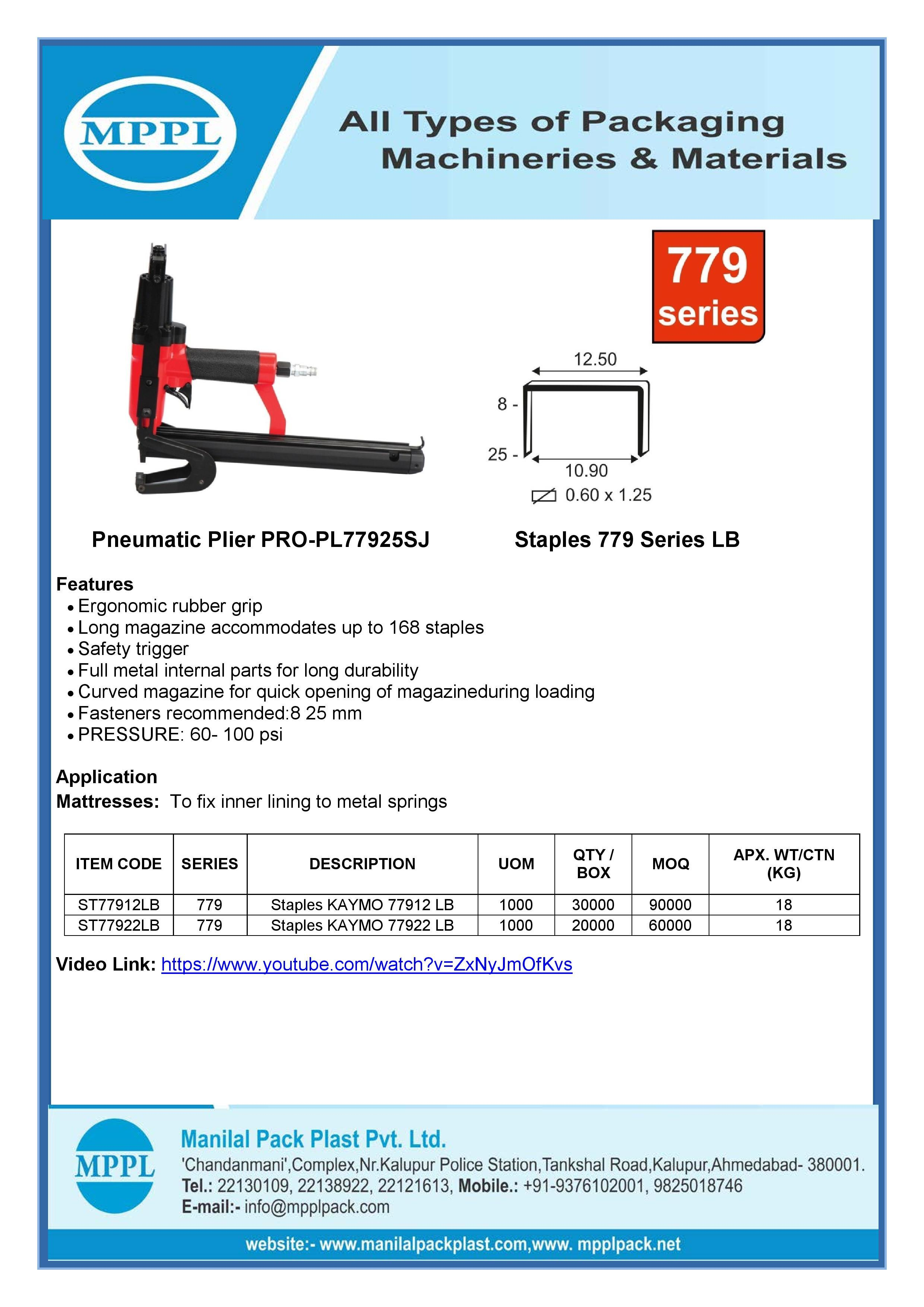 Pneumatic Plier PRO-PL77925SJ