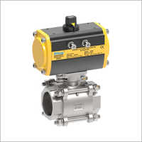 3 Piece Screw End and  Socket Weld Pneumatic Operated Ball Valve
