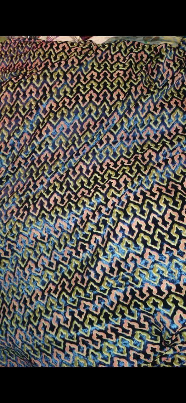 Flower Design Devore Burnout Velvet Fabric