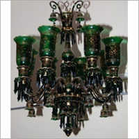 Green Color Hand Painted Chandelier