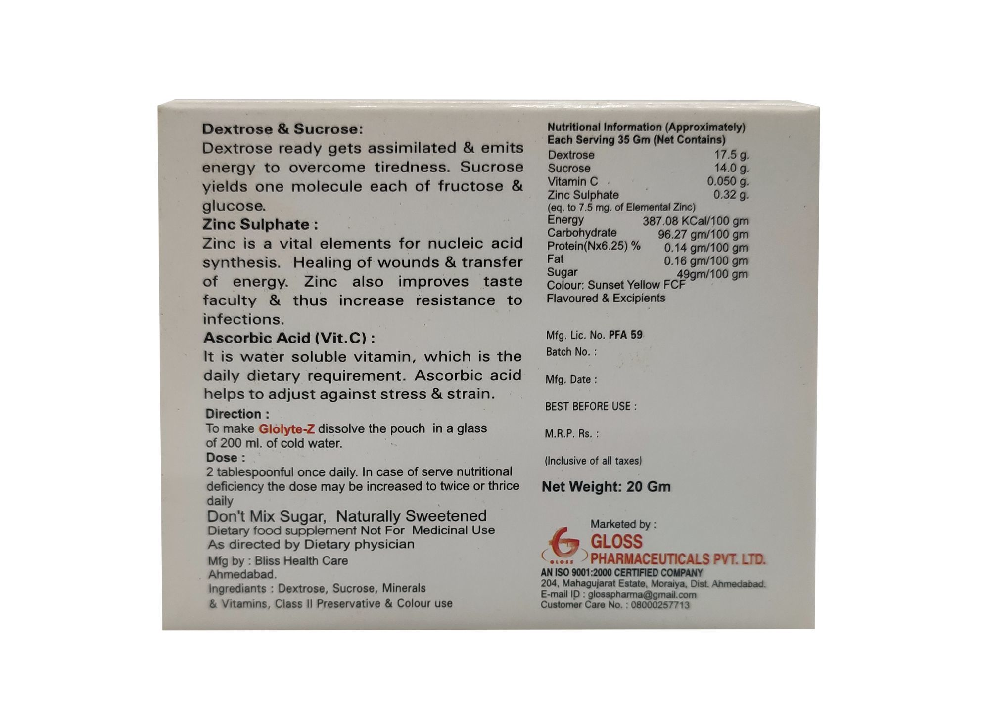Glolyte Z - Glucose Powder
