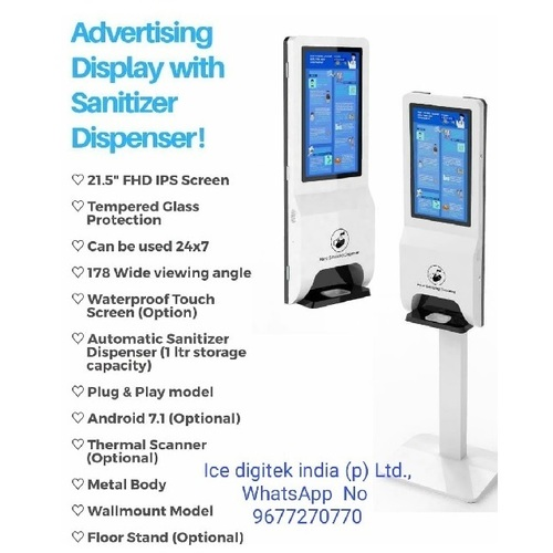 Assured Floor Stand Wall Mount 1000ml alcohol and Gel Auto Hand sanitizer Dispenser
