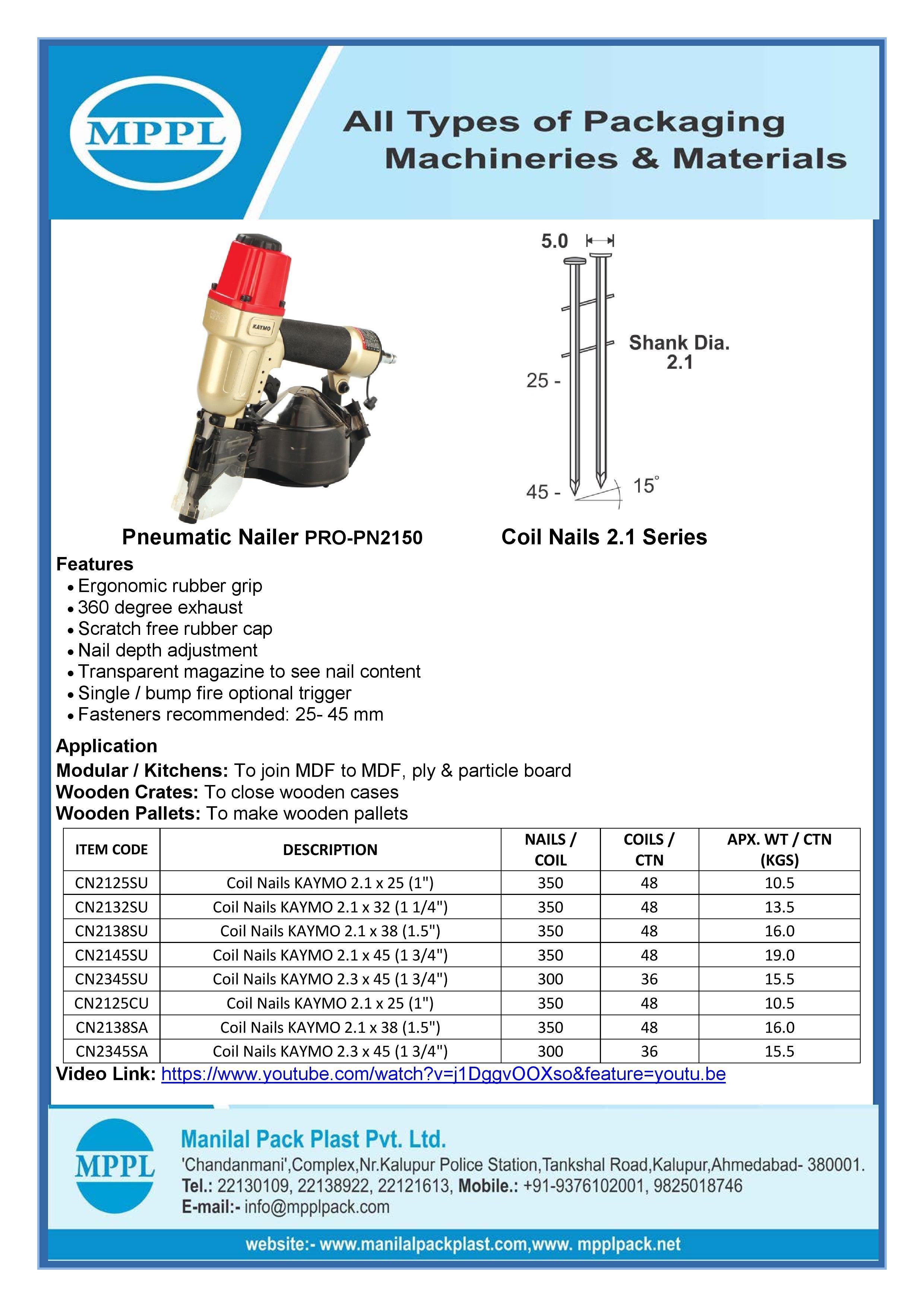 Pneumatic Nailer PRO-PN2150