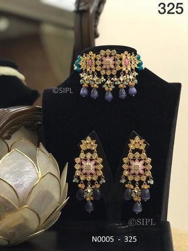 Ahmedabadi Kundan Meenakari Necklace set