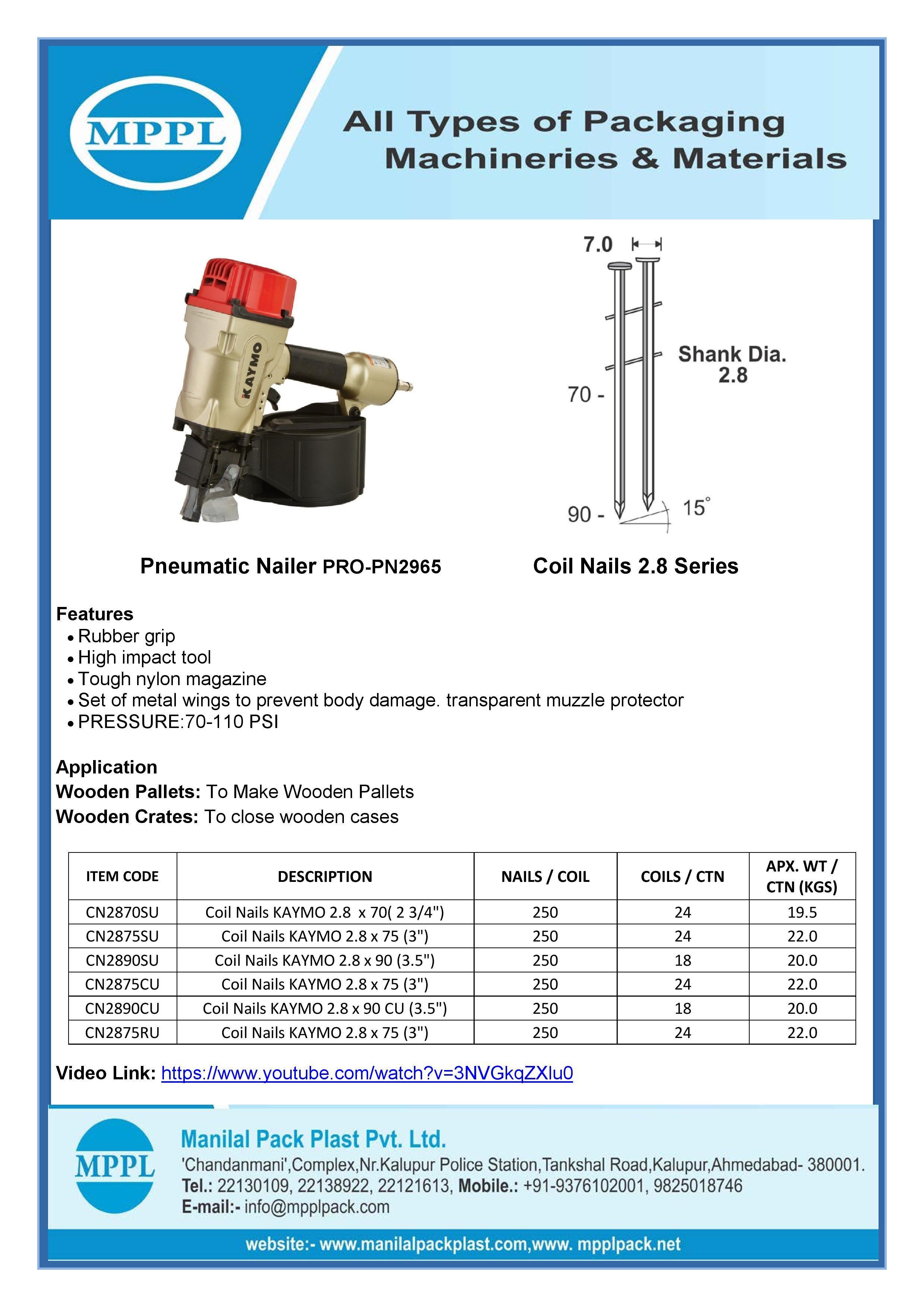 Pneumatic Nailer PRO-PN2965