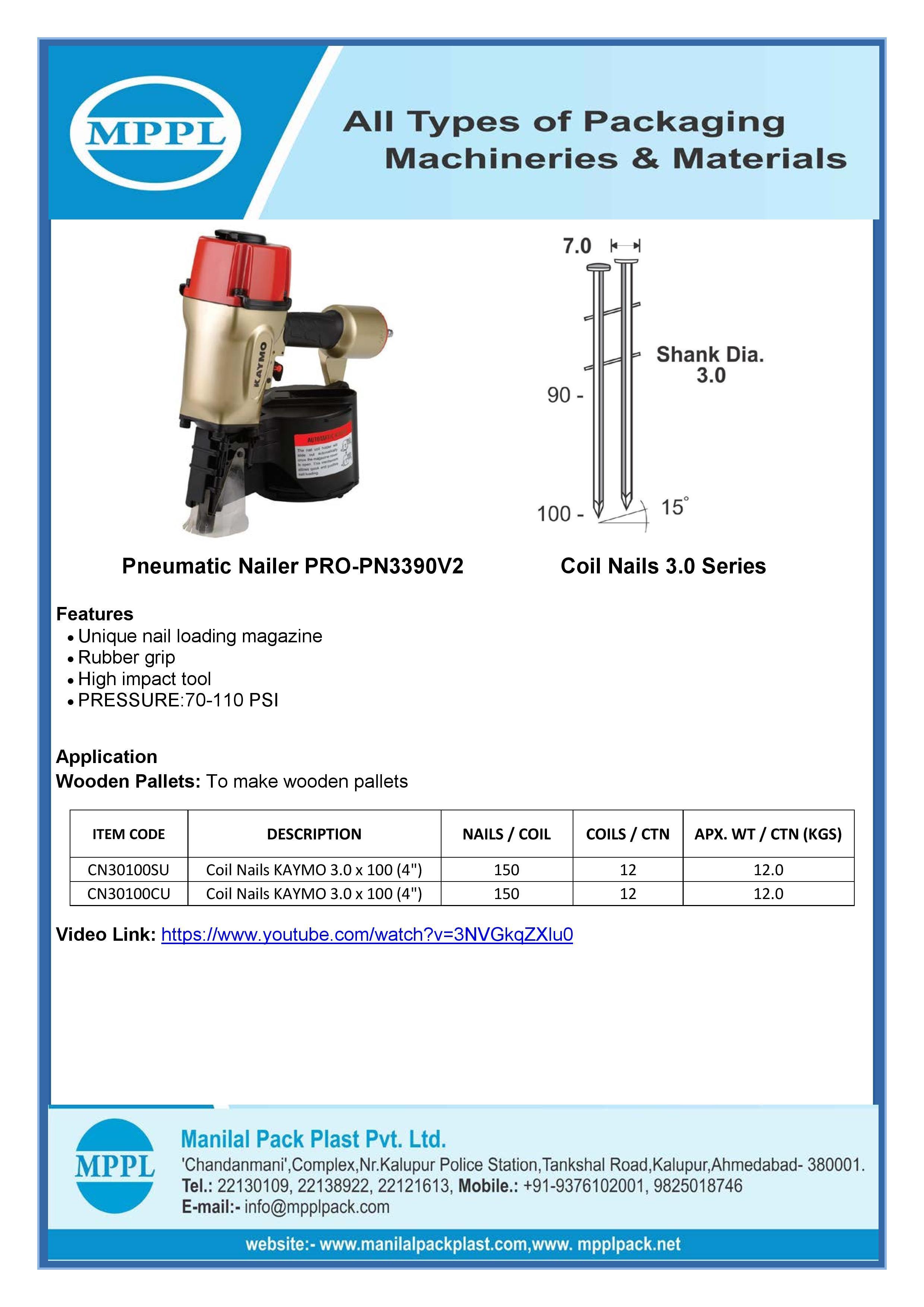 Pneumatic Nailer PRO-PN3390V2