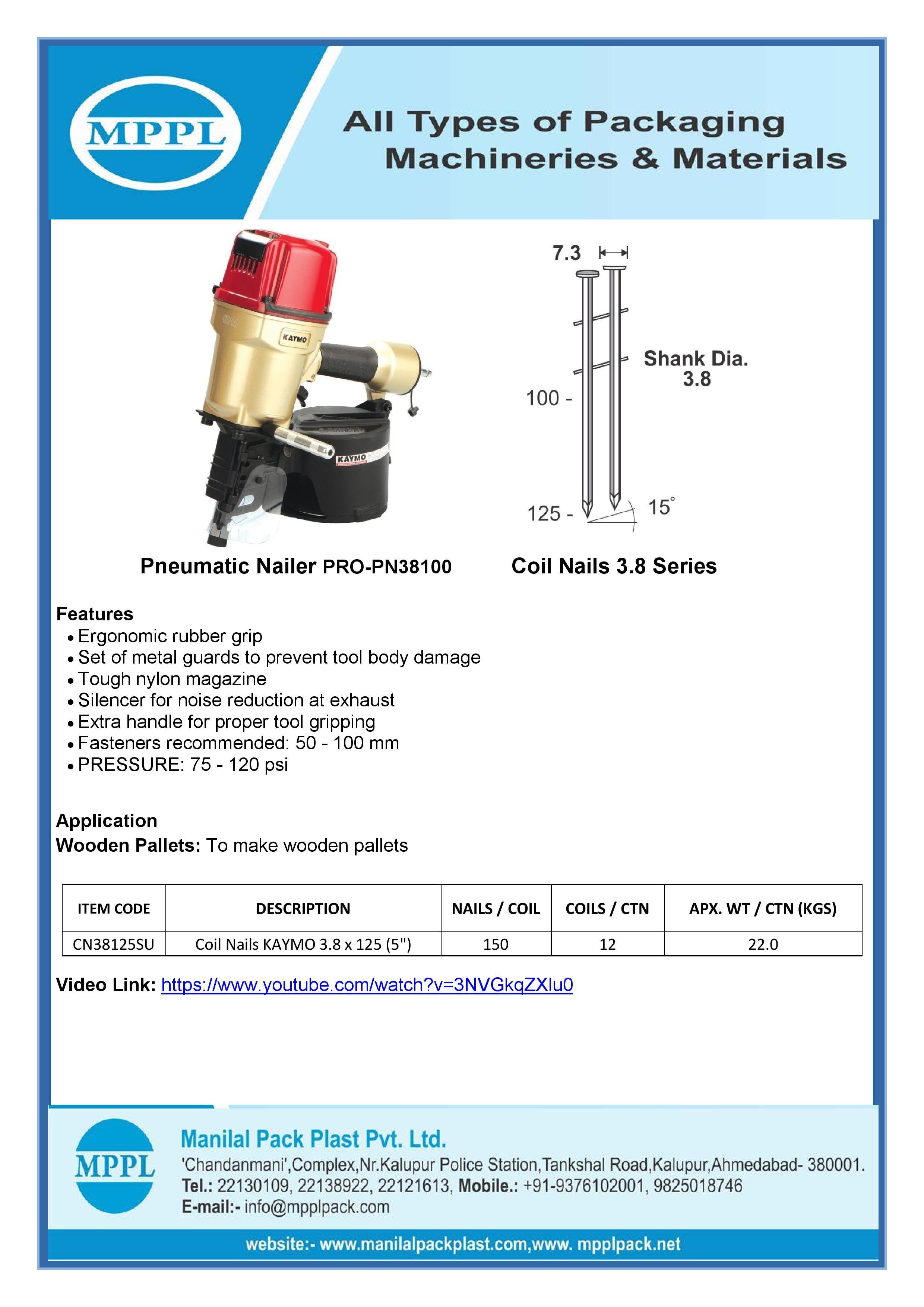 Pneumatic Nailer PRO-PN38100