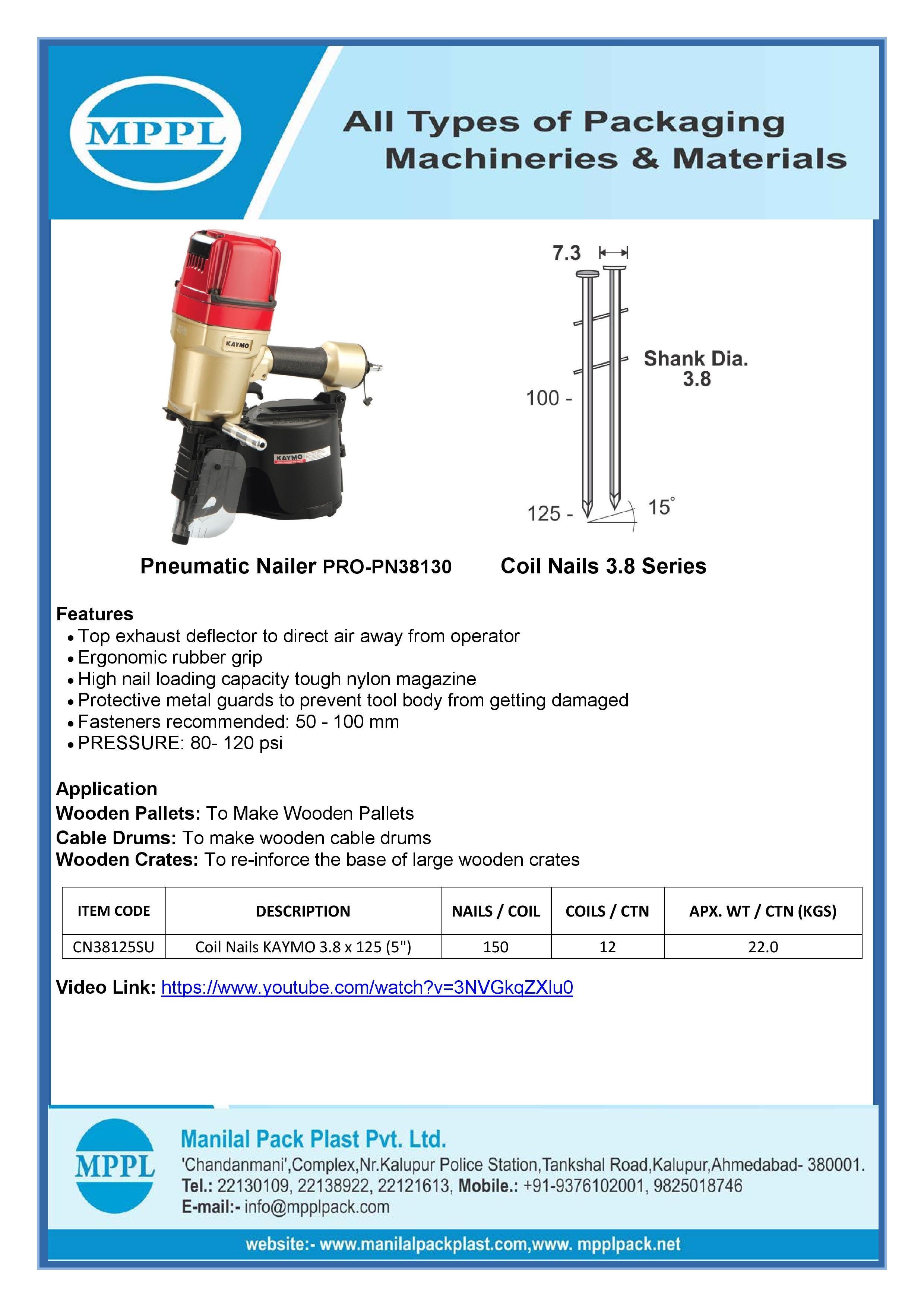 Pneumatic Nailer PRO-PN38130