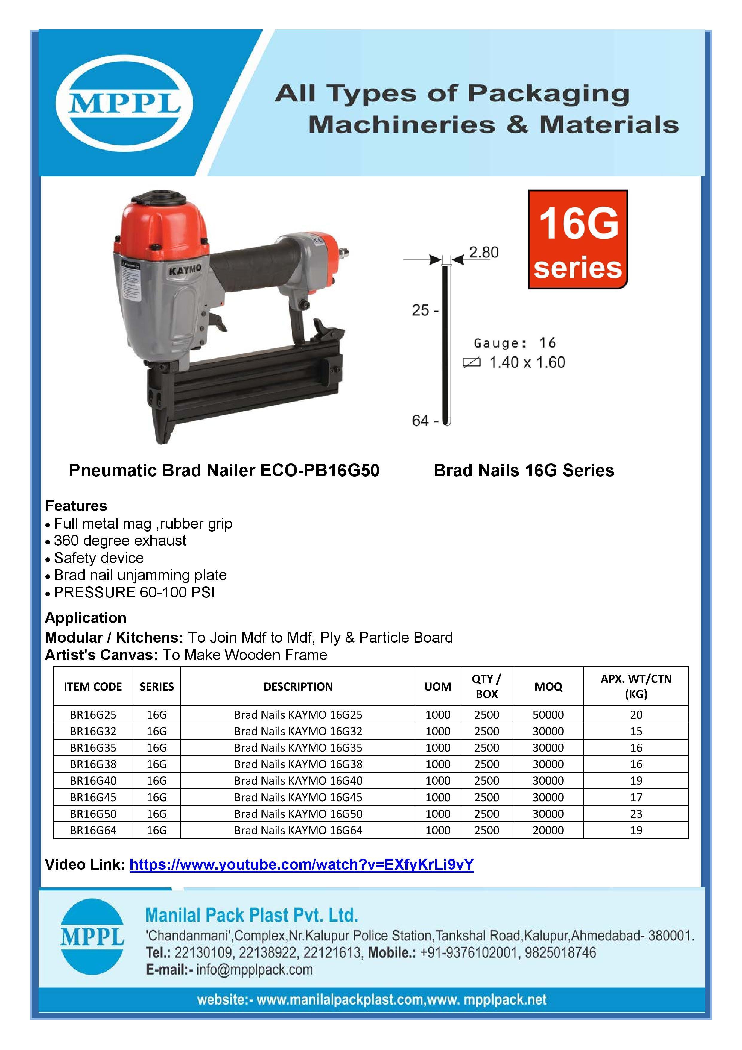 Pneumatic Brad Nailer ECO-PB16G50