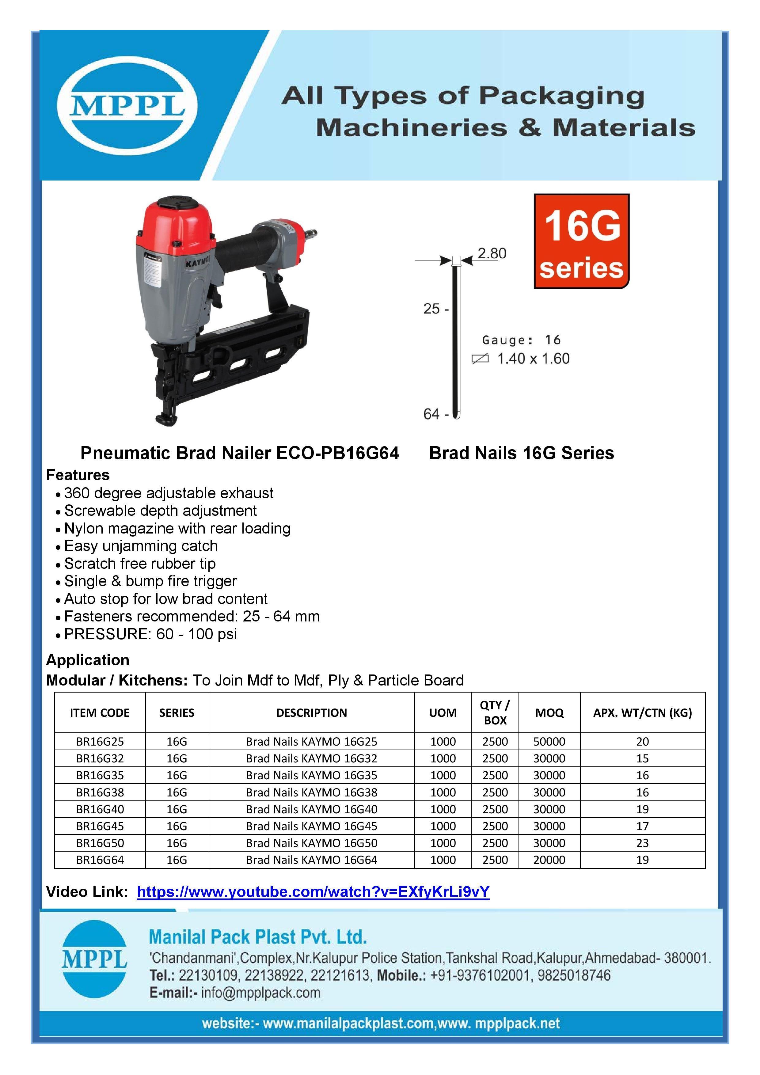 Pneumatic Brad Nailer ECO-PB16G64