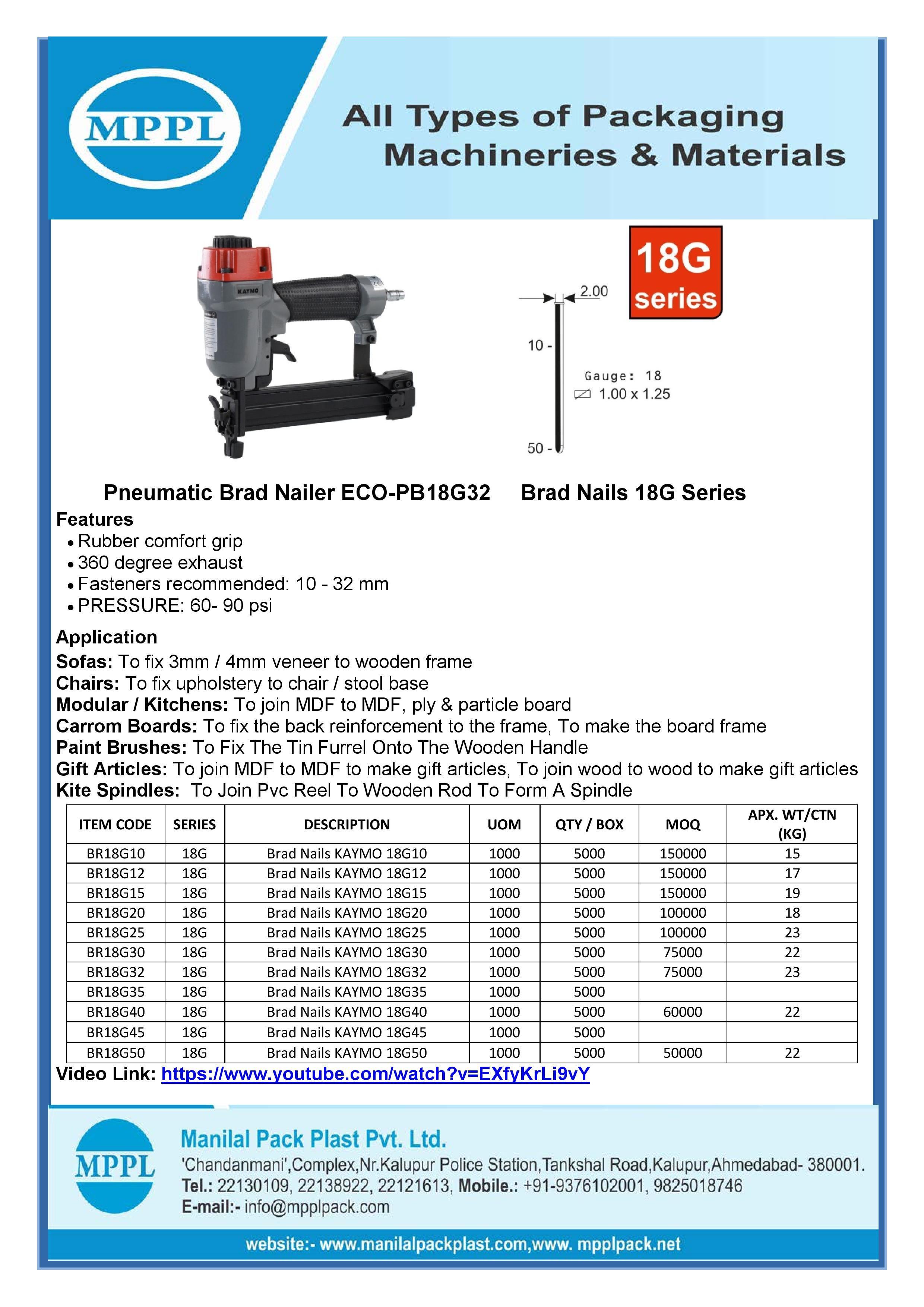Pneumatic Brad Nailer ECO-PB18G32