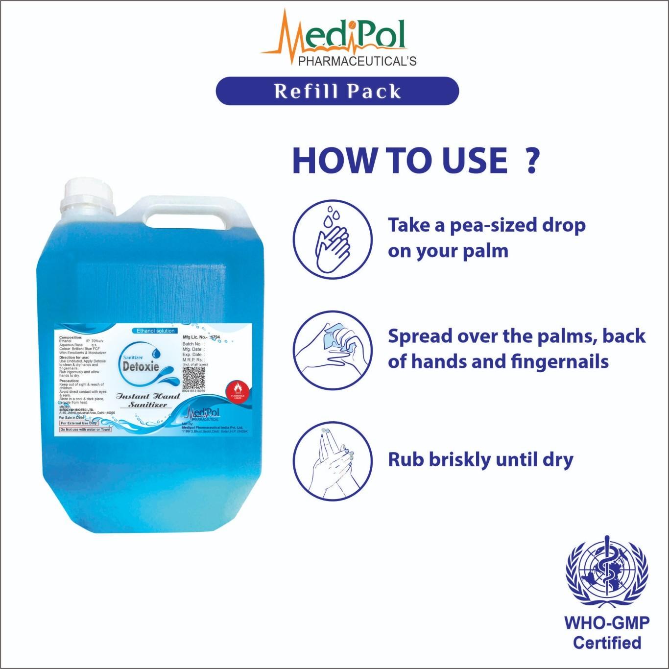 5000 ML Detoxie Instant Hand Sanitizer