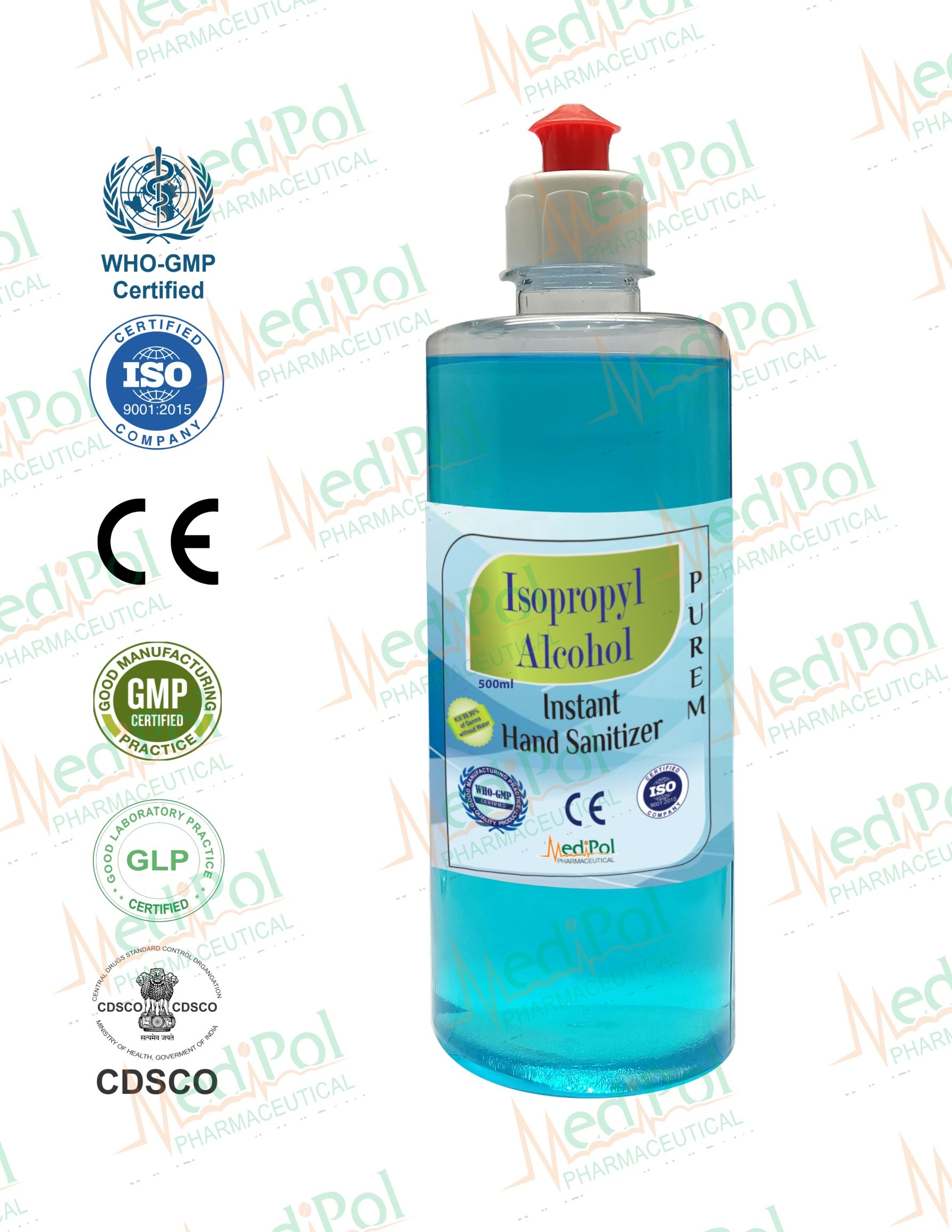 500 ML Liquid Isopropyl Alcohol Instant Hand Sanitizer