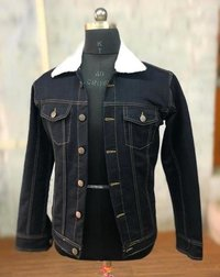 Mens Collar Fur Denim Jacket