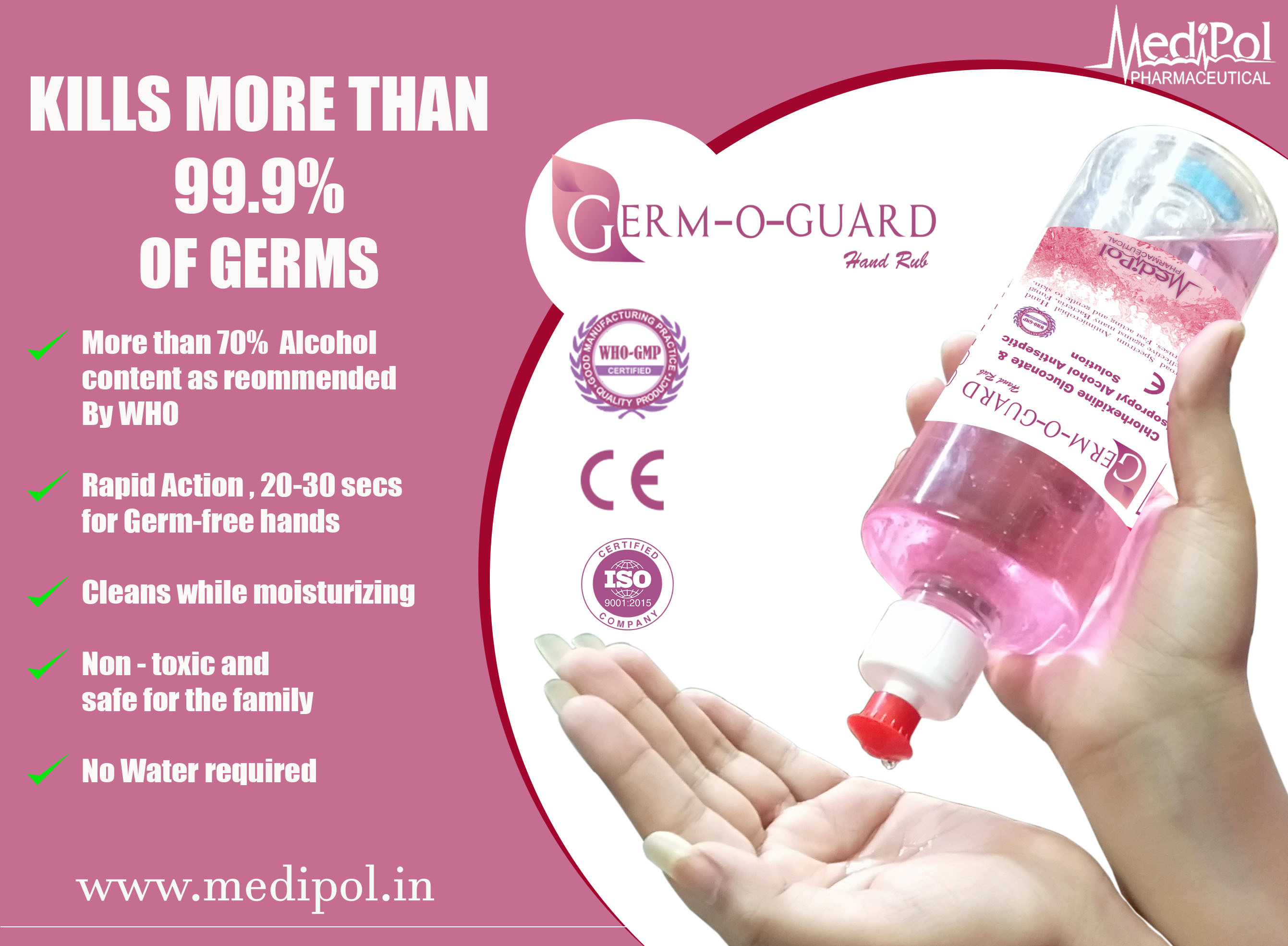500 ML Germ O Guard Anti Bacterial Liquid Sanitizer