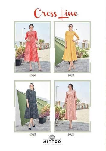 Cross Line Rayon Formal Kurtis Wholesale Catalog