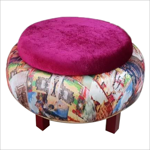 Round Shape Wooden Pouffe Stool