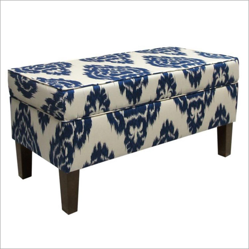 Rectangular Wooden Pouffe Stool
