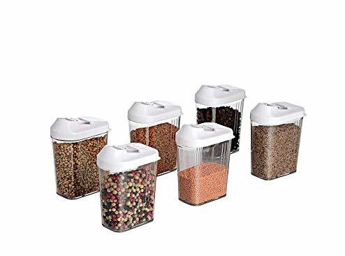 750 ml Easy Flow Plastic Kitchen Storage Jars & Container Set, Transparent Set of 6