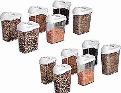750 ml Easy Flow Plastic Kitchen Storage Jars & Container Set, Transparent Set of 12