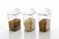 1100 ml Easy Flow Plastic Kitchen Storage Jars & Container Set, Transparent Set of 6